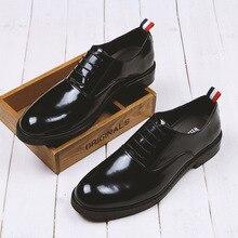 Классические Деловые Мужчины Обувь Люксовый Бренд Искусственной Кожи Дерби Обувь мужская Плоские Оксфорды Повседневная Обувь Черные Обувь Мужской Обуви