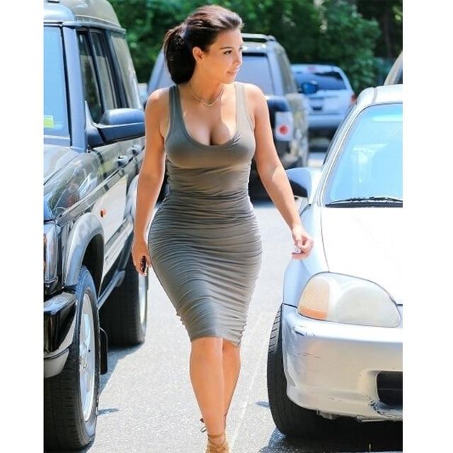 8a9682277079 long dress explosion Europe new Kardashian low tight grey dress Club ...