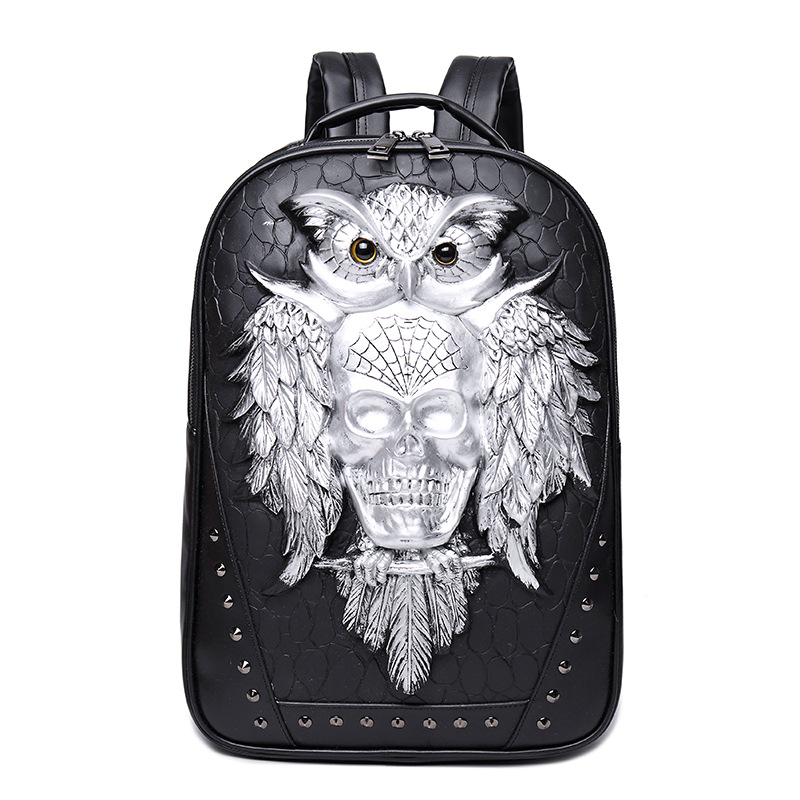 Fashion Skull Backpack 3d Leather Backpack Computer Laptop Backpack Cool Owl Women Men Travel Bags School Punk Rivets Bags