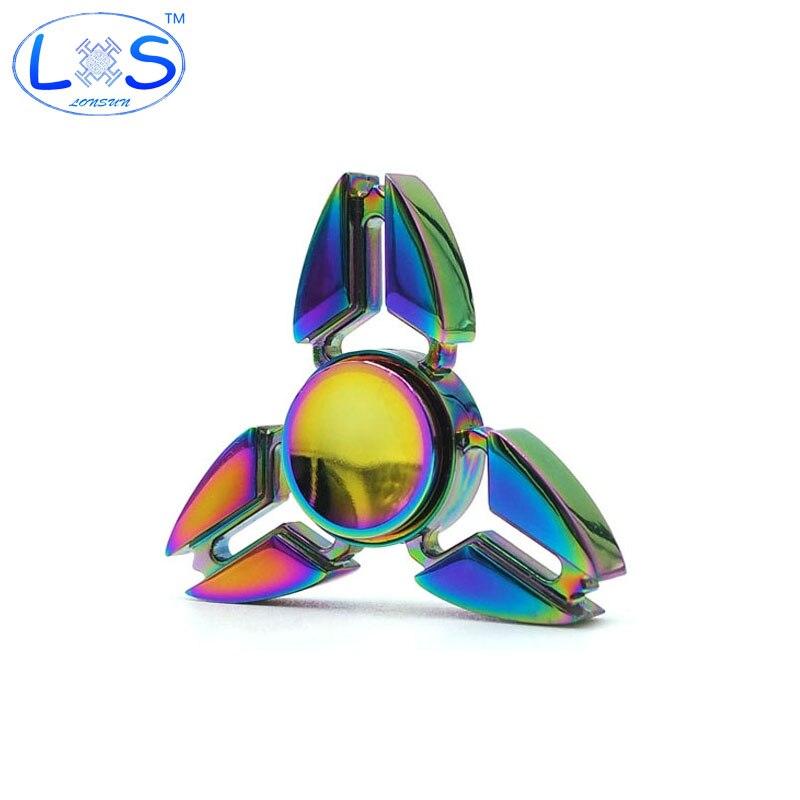 2017 New EDC Tri-Spinner Fidget Toys Pattern Hand Spinner Metal Fidget Spinner and ADHD Adult decompression toys Action