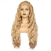Honey Blonde Water Wave Synthetic Lace Front Wig High Temperature Fiber Mixed with 613 Middle Parting White Women Wigs