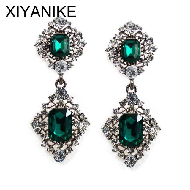XIYANIKE Vintage Long Earrings Antique Branze Green Stone Crystal Drop Earrings For Women Indian Wedding Jewelry Wholesale E48