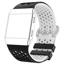 MASiKENสีคู่สายรัดข้อมือสำหรับFitbit IonicซิลิโคนกีฬากิจกรรมฟิตเนสTrackerสมาร์ทนาฬิกาสายรัดข้อมือเข็มขัด