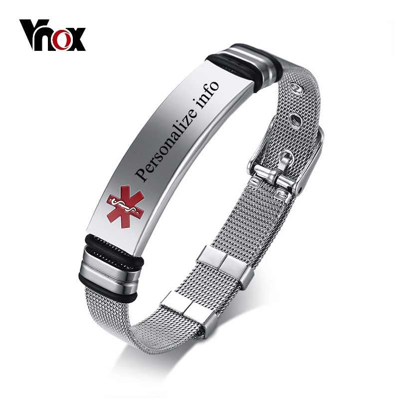 Vnox Free Personalized Engraving Medical Alert ID Bracelet For Women Men Stainless Steel Adjustable Watch Band Emergency Jewelry