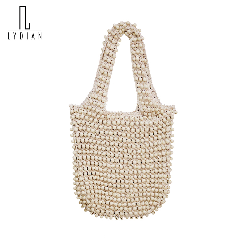Lydian 2017 Fashion Summer Hobo Bag Pearl White Handmade Wooden Beads Hot Shoulder Bag Swimmer Beach Bag Knitting Casual Handbag hot sale beads