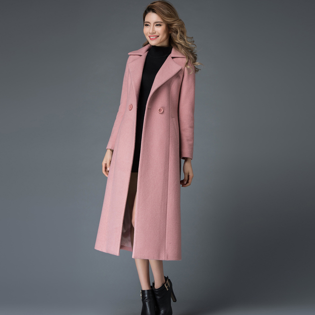 new fashion women's elegant pink wool coats slim long overcoats