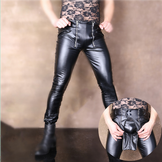 Free shipping high fashion cool male elastic PU leather pants tight distribution channels locomotive men slim long pants black