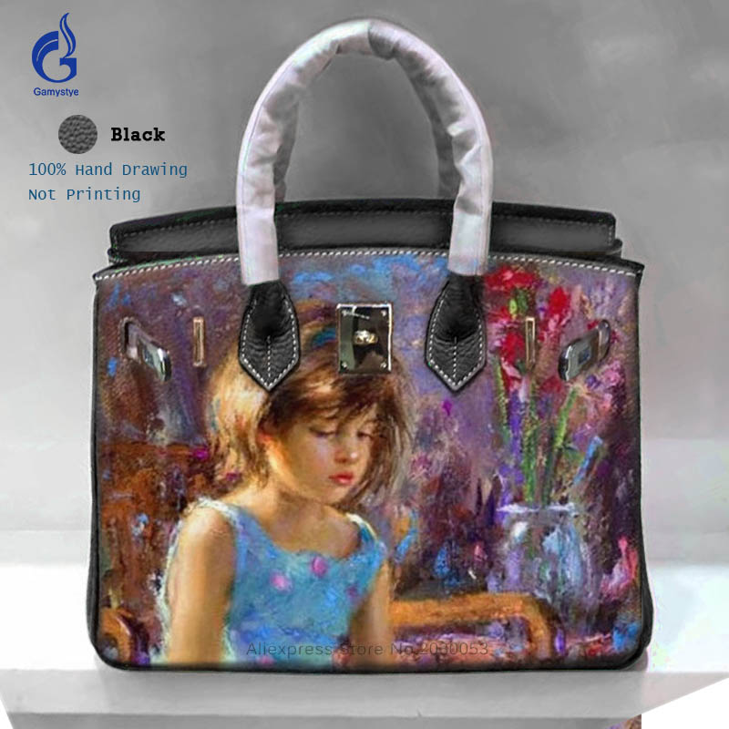Gamystye High Quality Genuine Leather Hand Bag Women Messenger Bags Famous Brand Designer Hand Painted Top-Handle Casual Totes Y art hand printed bags for women 2018 100% genuine leather top handle bags high capacity vintage casual totes togo leather bag y