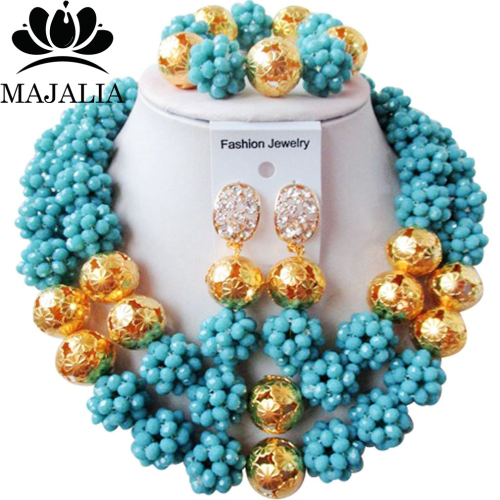 Majalia Classic Nigerian Wedding African Jewelry Set Aqua blue Crystal Bead Necklace Bride Jewelry Sets Free Shipping 2JS050Majalia Classic Nigerian Wedding African Jewelry Set Aqua blue Crystal Bead Necklace Bride Jewelry Sets Free Shipping 2JS050