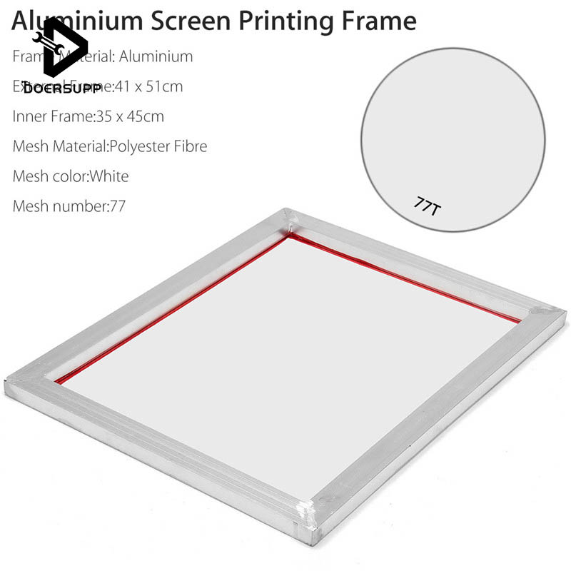 DOERSUPP Aluminium 41*51cm A3 Screen Printing Frame Stretched With White 77T Silk Print Polyester Mesh for Printed Circuit Board потолочная плитка delai t 0161 print stretched ceiling films t 0161 print stretched ceiling films