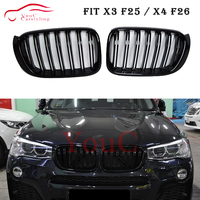 X3 X4 Dual Slat Kidney Grille front Hood Mesh for BMW X3 F25 X4 F26 2014 2018 Gloss Black grill Bumper Racing grille