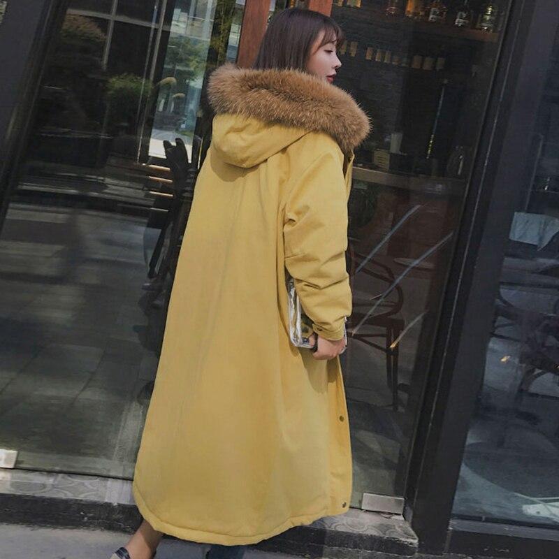 Veste Capuche Hiver Grand Fur Collar Real Fourrure Casual grey À Parka 02 Femmes Manteau Long Gray Chaud real La Manteau Degrés Pardessus 30 Féminine De Épais Collar yellow Mode vvxw6rE1q