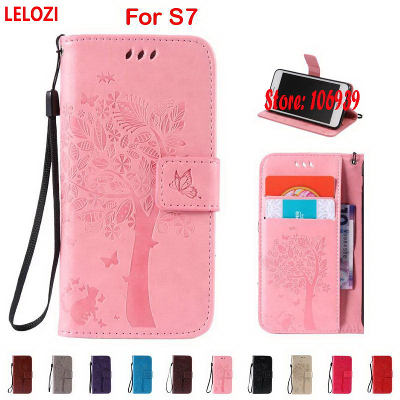 LELOZI Tree Leaf Flower Cat Butterfly PU Leather Wallet Case capinha shell For Samsung Galaxy S7 SM G930 G930F Cheap Black