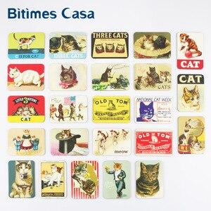Bitimes 24 PCS Cute Cat Refrigerator Fridge Magnets Set Home Decoration Animal Cats Designs Magnetic Stickers Travel Souvenir