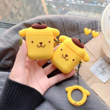 For AirPods Case Cute Cartoon Pudding Dog Earphone Cases For Airpods 2 i10 i12 i11i20 Puppy Protect Cover with Finger Ring Strap
