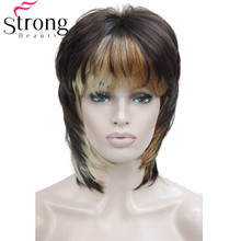 Soft Shaggy Layered Short Cascading Three tone mix Swept Bangs Full Synthetic Wig Straight Womens Wigs COLOUR CHOICES