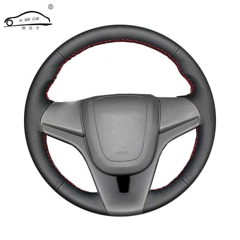 Trança de volante de carro de couro artificial para chevrolet cruze 2009-2014 aveo 2011-2014/capa de volante feita sob encomenda