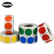 Chroma Label 1 inch Color-Code Dot Labels stickers 500/Roll,Black/white/green/blue/orange/red/pink/yellow stationery stickers недорго, оригинальная цена