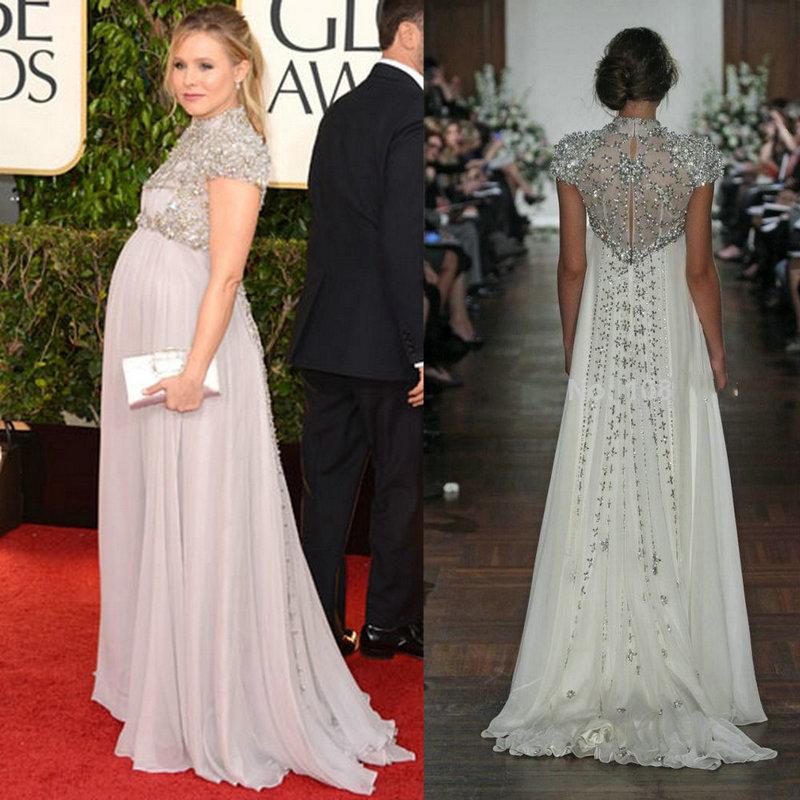 Pregnant Evening Dress Kristen Bell Gave Gown Celebrity Dresses For ...