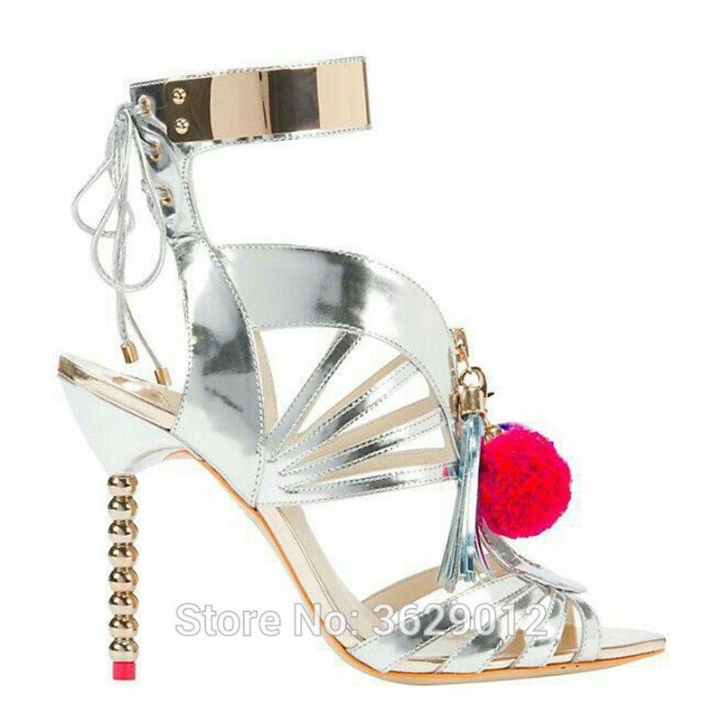Caviglia 2 Sottile Lynskey Gladiatore Lace color Pom Donne Argento Sandali Scarpe Color Zapatos Alti Alla 1 Cinturino Up Tacchi Majur PwP84gHq