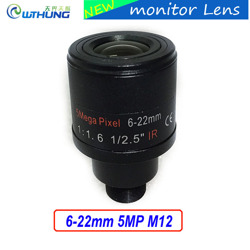 Neue CCTV objektiv 1/2. 5 zoll 6-22mm 5MP M12 montieren vario Objektiv F1.6 Für 4MP/5MP CMOS/CCD Sensor sicherheit IP/AHD Kamera