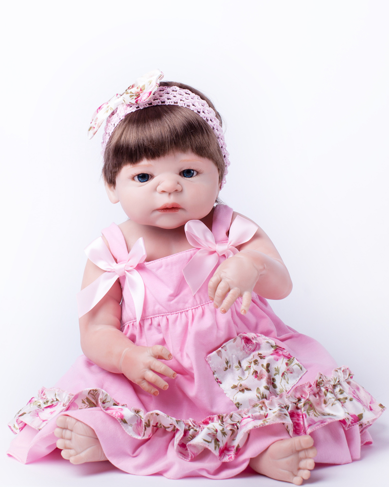 Full Body Silicone Reborn Baby Doll Toys Bathe Shower Toy 55cm Newborn Girl Babies Dolls Kids Child Birthday Girl Brinquedos full silicone body reborn baby doll toys lifelike 55cm newborn boy babies dolls for kids fashion birthday present bathe toy