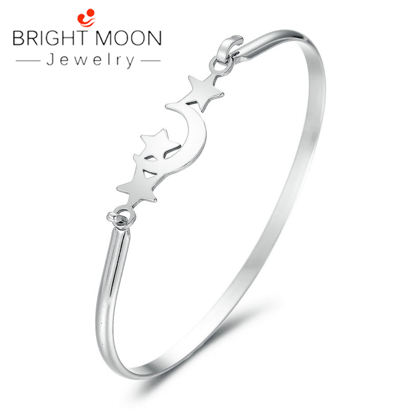 Bright Moon Fashion Cuff Bracelet Vintage Sliver Color Bracelets Bangles for Women Star Moon Bangle Boho Indian Jewelry in Strand Bracelets from Jewelry Accessories