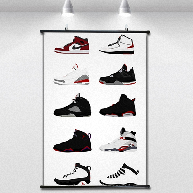 Jordan's sports shoes NBA Basketball Poster Wall paintings Wall Sticker  Banners Hanging Waterproof Cloth Art Decor 40X60 CM-in Painting &  Calligraphy from ...