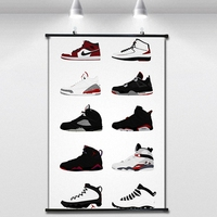 Jordan's sports shoes NBA Basketball Poster Wall paintings Wall Sticker Banners Hanging Waterproof Cloth Art Decor 40X60 CM