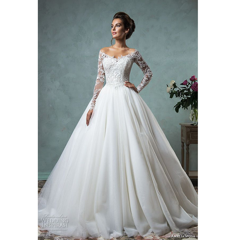 White Lace Wedding Gowns V Neckline Long Sleeves Wedding