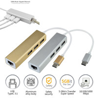 Malloom 11 11 USB C To 3 Port USB 3 0 Hub With 10 100 1000