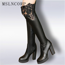Plus Size 32-43 Autumn Winter New Lace Women Leather Boots Sexy Fashion Over the Knee Boots High Heel Platform Party Woman Shoes kebeiority plus size 33 43 knee high lace up boots women high heel autumn boots shoes woman leather high leg martin boots 2017