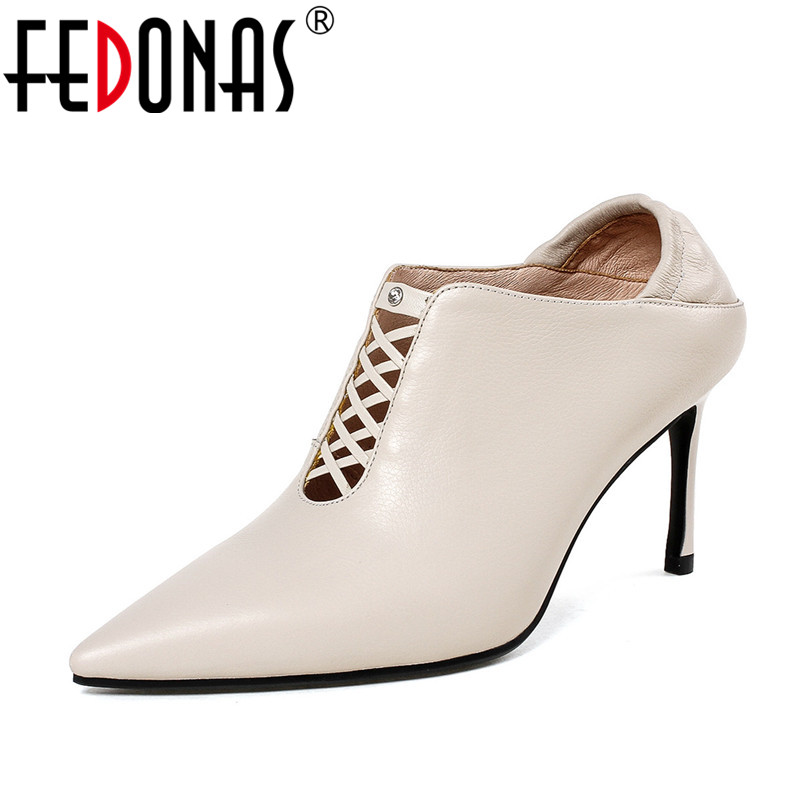 FEDONAS 2018 New Autumn Sexy Women Pumps Genuine Leather 8CM High Heel Shoes Woman Pointed Toe Party Pumps Wedding Shoes fedonas top quality women bowtie pumps genuine leather ladies shoes woman sexy high heels party wedding shoes pointed toe pumps