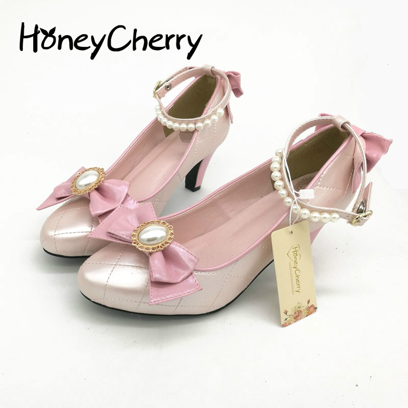 Japanese Sweet Round With A Fine Bow Shoes Color Pearl Strap Lolita Cos Soft Sister Women Shoes High Heel Shoes japanese bow shoes with thick bandage round lolita soft sister girl lolita cos shoes high heels lolita shoes
