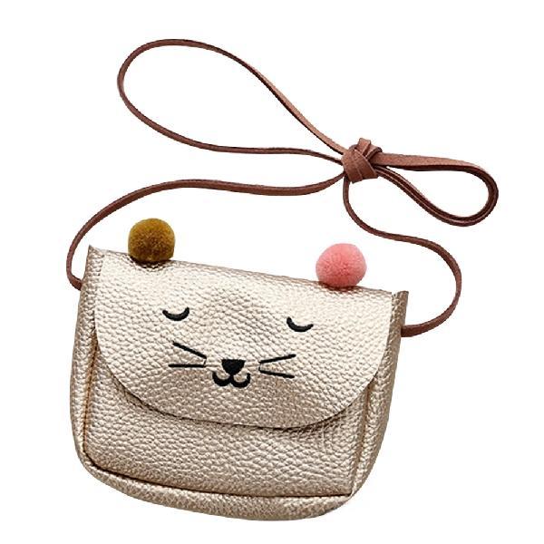 Детская сумка через плечо, маленькая сумка-мессенджер с кошачьими ушками, простая маленькая квадратная сумка для детей, универсальная Сумочка для монет, милые сумочки для принцесс - Цвет: Champagne