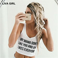 LIVA GIRL short expose navel tank top women 2017 Summer letter Sleeveless V Neck cotton  camisole Sexy Party cropped Tops