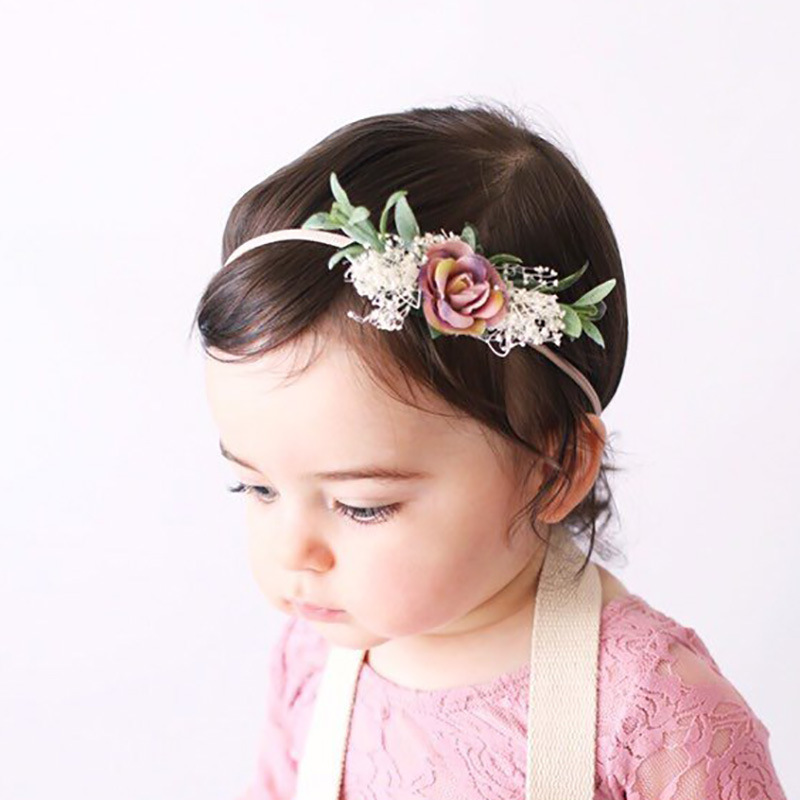 Soft nylon headband with seaside flowers baby girls hair flower crown princess headband   Headwear   Baby Tieback Bunny hairband