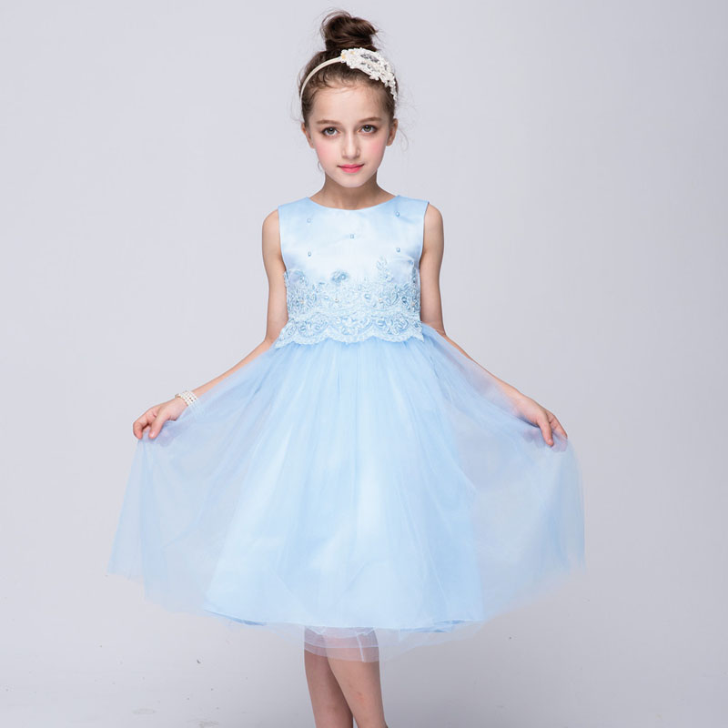 3 to 12Years Old Girls Dresses Summer 2017 Flower Girl Dresses For Party Wedding Hand Made Beading Princess Dress Vetement Fille цены онлайн