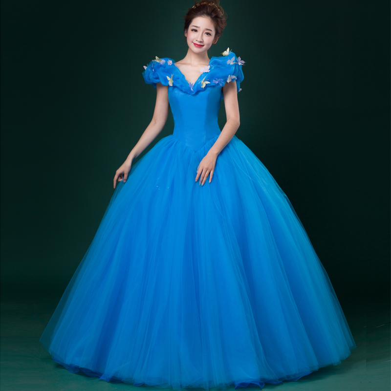 2016 Sweet Blue Puff Sleeve V-neck Princess Cake Dress Stage Show Singer Ball Gown Drop Shipping