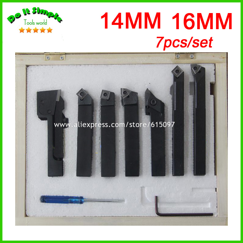 цена на 7pcs/set 14mm 16mm Hard Alloy Blade Turning Lathe Tool Kits Cutter