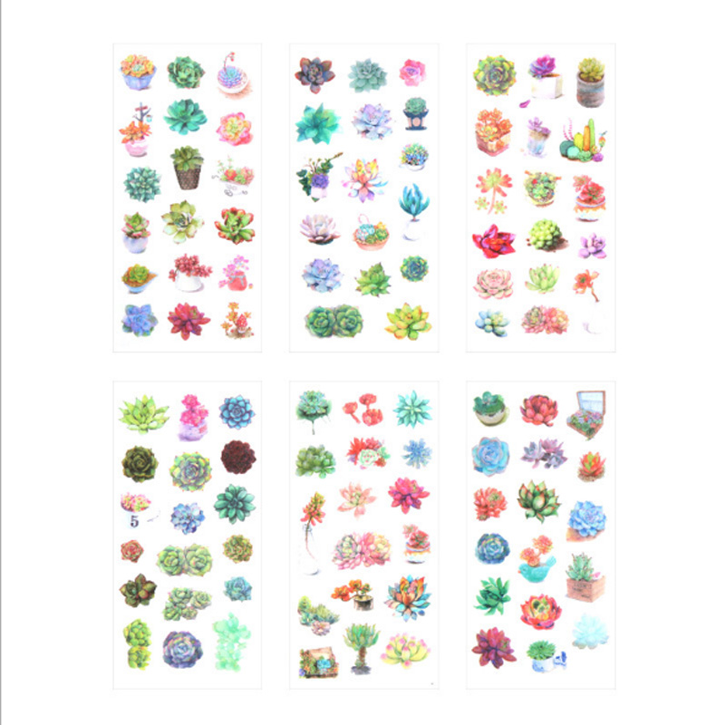 Купить с кэшбэком 6pcs/lot Color more than meat plant Diary Stickers DIY Kawaii Scrapbooking Mini Stationery Sticker Office School Supplies
