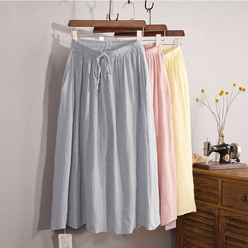 Women's Brief High Waist Linen Midi Skirts 2018 Spring Ladies Casual Elastic Waisted Bows Side Pockets 12 Colors Skirt Saia SK46