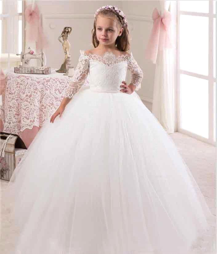 2019 New Cute White Iovry Lace   Flower     Girl     Dresses   With Sleeves for Weddings Children Prom Gown   Girls   First Communion   Dresses