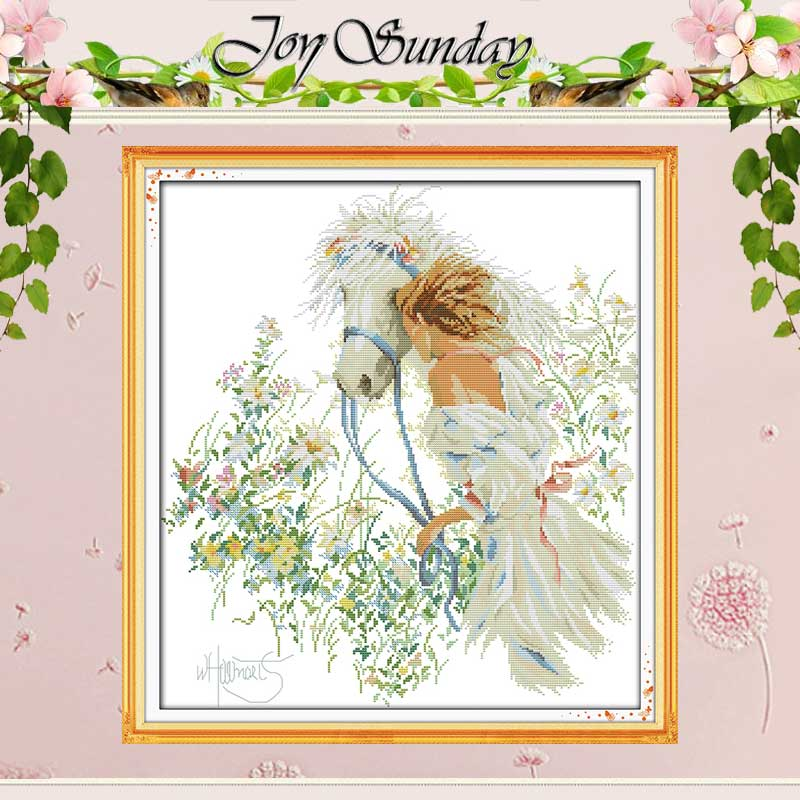White Horse and Girl Patterns räknade Cross Stitch 11CT Printed 14CT Cross Stitch Kit för Broderi Needlework Home Decor