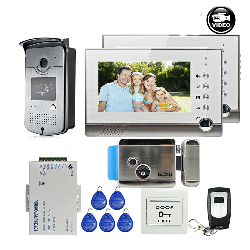 MILEVIEW 7 Color LCD Video Intercom Door Phone 2 Record Screens RFID Access Door Intercom Camera