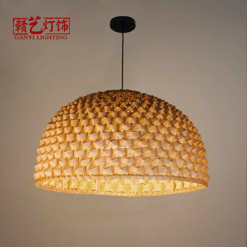 Asia bamboo chandeliers, round table lamps, chandeliers, restaurants, tea houses, farmhouses, retro bamboo lamps 100% bamboo kung fu tea set bamboo tea tray bamboo tea saucer large sea water type tea table storage tray trumpet