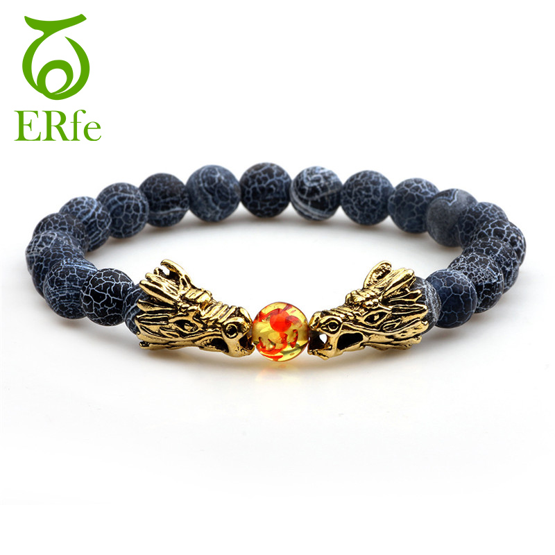 ER Vintage Tibetan Stone Prayer Beads Braslet Man Viking Gold Dragon Bracelet Women Ethnic Buddhist Jewelry Wristband BB002