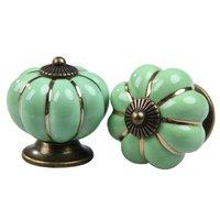 5x Vintage Pumpkin Ceramic Door Knobs Cabinet Drawer Cupboard Kitchen Pull Handle Green