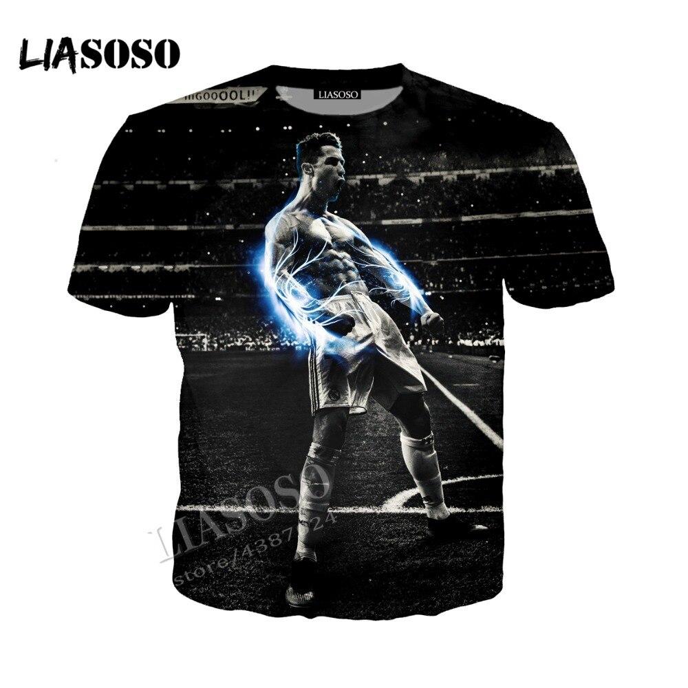LIASOSO 3D latest print comfortable polyester top football star C Ronaldo hooded hooded hoodie simple men women sportswear CX221