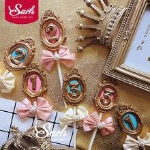 النبيل Bnowknot الإطار رقم 1st 2 3 الوردي الأزرق كعكة توبر الحلوى الديكور لحفل عيد ميلاد هدايا جميلة